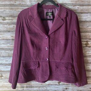 Studio I Purple Faux Suede Jacket Size Medium